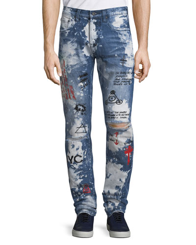 Men's Le Sabre Graphic Distressed Denim Jeans