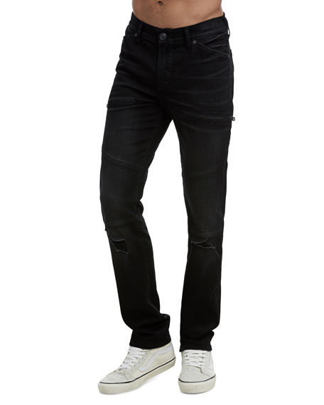 TRUE RELIGION Rocco Slim Fit Moto Jeans In Coal Mine