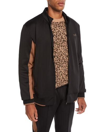 Men's Leopard-Applique Zip-Front Jacket