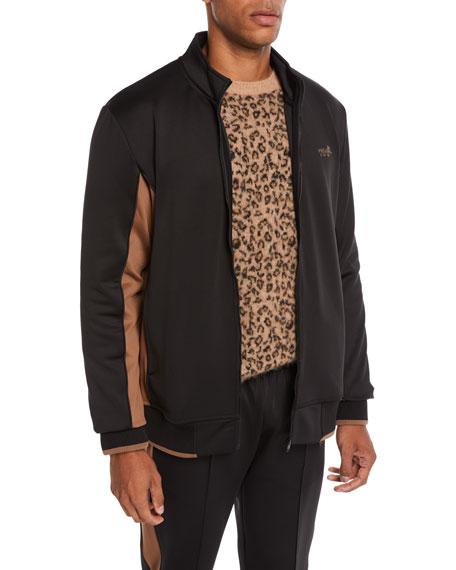 Ovadia & Sons Men's Leopard-Applique Zip-Front Jacket
