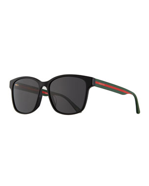 1df405ac1e0 Gucci Men s Square Acetate Sunglasses with Signature Web