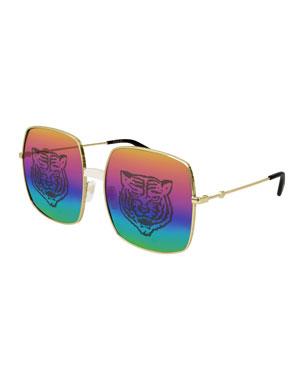 f7c490e9916 Gucci Men s Angry Cat Rainbow Square Sunglasses