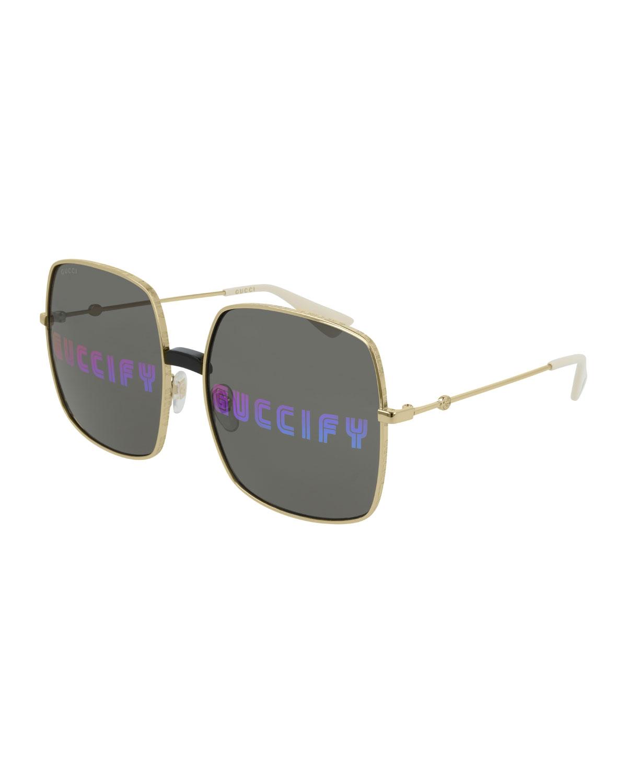 6f293abdd7584 Gucci Men s GUCCIFY Hologram Square Sunglasses