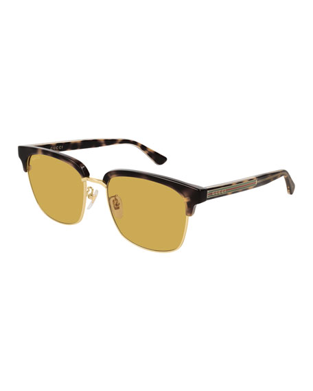 Gucci Men's GG0382S001M Half-Rim Mirrored Sunglasses