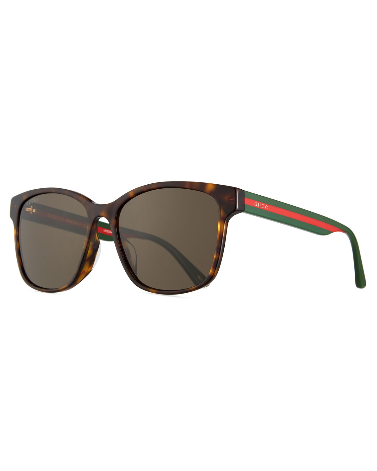9f989a993f5 Gucci Men s Square Tortoise Acetate Sunglasses with Signature Web ...
