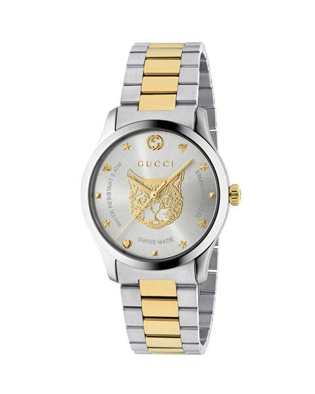 Men'S Feline Head Yellow Gold Pvd-Trim Bracelet Watch in Silver/ Gold