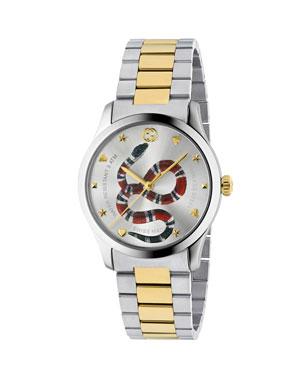 692be7f7a Gucci Men's Snake Yellow Gold PVD-Trim Bracelet Watch
