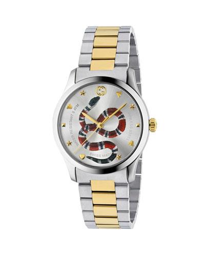Men's Snake Yellow Gold PVD-Trim Bracelet Watch