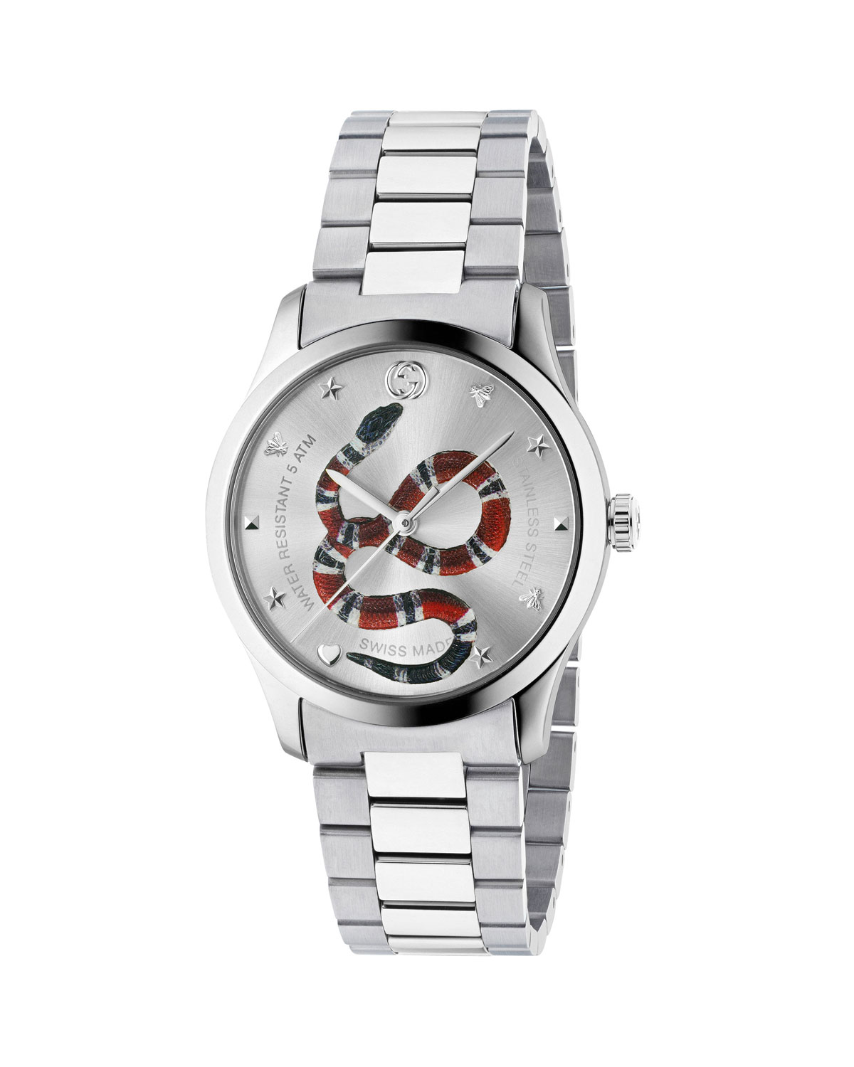 97648c52826b Gucci Men s Snake Stainless Steel Bracelet Watch