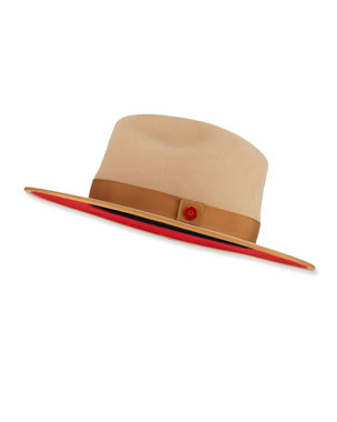 Keith and James Men s Queen Red-Brim Wool Fedora Hat af956164aa9a