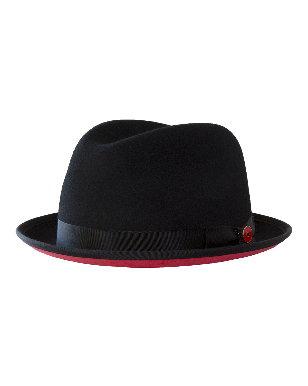 Keith and James Men s Prince Red-Brim Wool Fedora Hat 2f8fd6ab75b9
