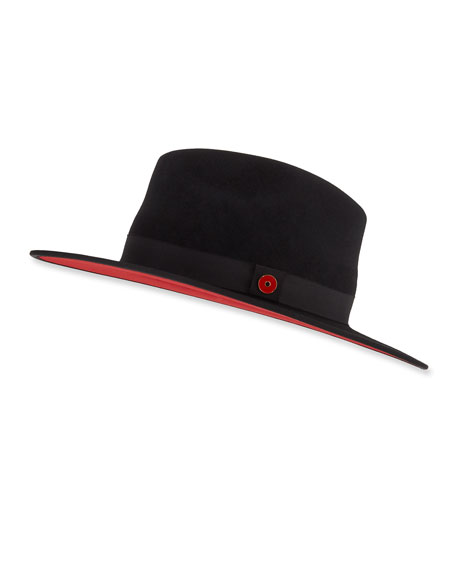 729e411f Keith And James Queen Red-Brim Wool Fedora Hat, Black, Black | ModeSens