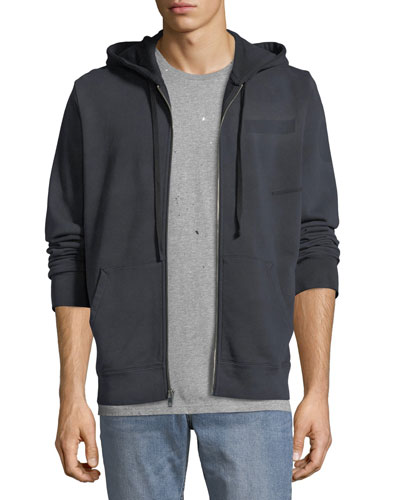 Men's Type-O1 Washed Jersey Zip-Front Hoodie, Black