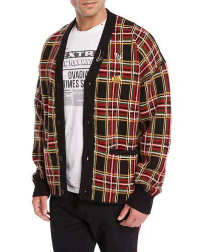 Men's Plaid Wool Cardigan