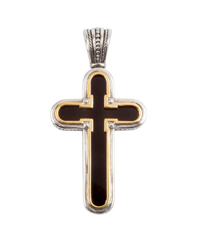 Men's Stavros Onyx-Inset Cross Pendant w/ 18k Gold Trim