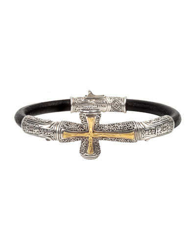 Men's Stavros Cross-Inlay Leather Bracelet