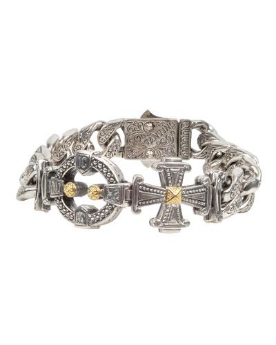 Men's Stavros Sterling Silver Link Bracelet with 18k Gold Details