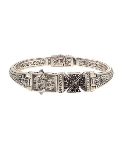 Men's Stavros Black Spinel Cross Cuff Bracelet