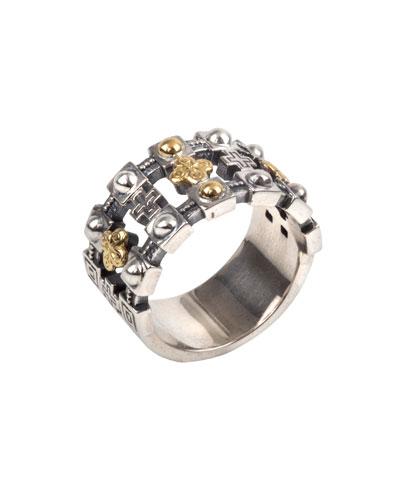Men's Stavros 18k Gold Trim Band Ring