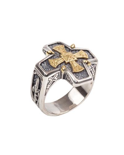 Men's Stavros 18k Gold Cross Ring