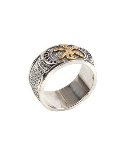Men's Stavros 18k Gold Trim Ring