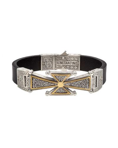 Men's Stavros 18k Gold Cross Leather Cuff Bracelet