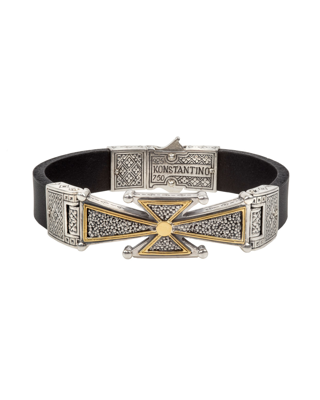 Men S Stavros 18k Gold Cross Leather Cuff Bracelet