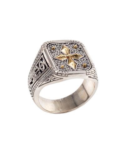 Men's Stavros 18k Gold Cross Signet Ring