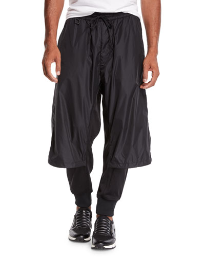 Men's Layered Mixed-Media Track Pants