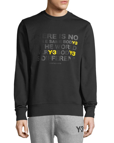 Men's EverY-3 BodY-3 Is Different Artwork Cotton Crewneck Sweater