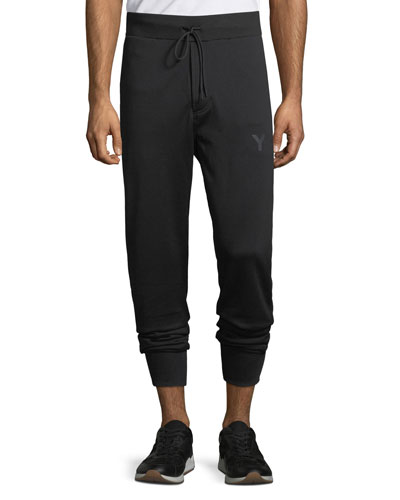 Men's Classic-Cuff French Terry Track Pants, Black