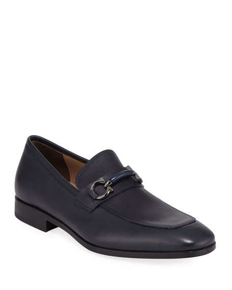 Salvatore Ferragamo Men's Benford Gancini-Bit Leather Loafer In Navy Leather