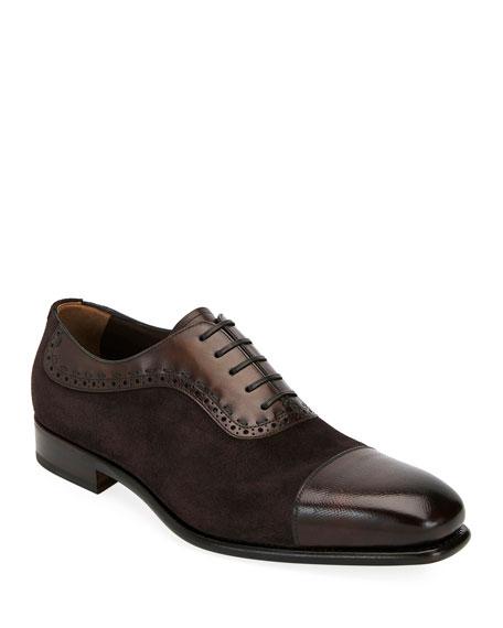 Salvatore Ferragamo Men's Two-Tone Derby Dress Shoes In Brown