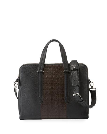 SALVATORE FERRAGAMO Men'S Firenze Gamma Textured Briefcase in Black