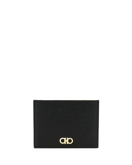 SALVATORE FERRAGAMO Men'S Revival Gancini Leather Card Case in Black