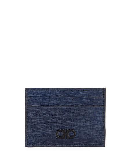 SALVATORE FERRAGAMO Men'S Revival Gancio Leather Card Case With Magnetic Money Clip in Navy