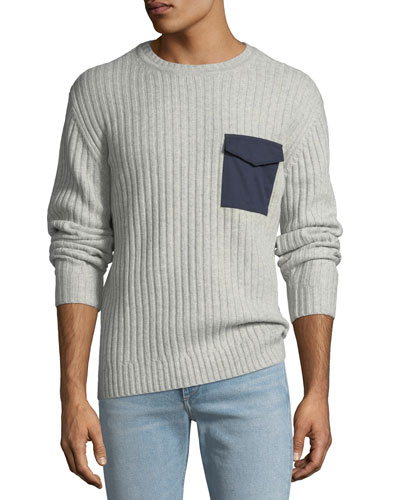 Men's Delta Woven-Pocket Sweater