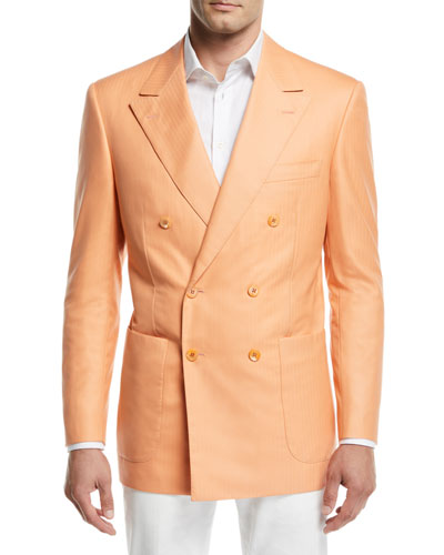 Tonal-Stripe Double-Breasted Sport Coat, Orange