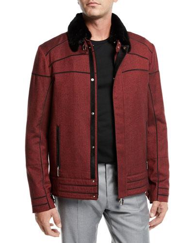 Men's Suede-Trim Zip-Front Moto Jacket