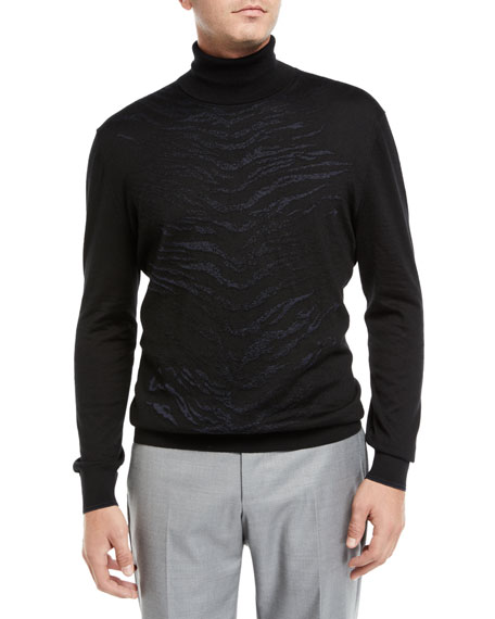 Stefano Ricci Sweaters MEN'S ANIMAL STRIPE TURTLENECK SWEATER