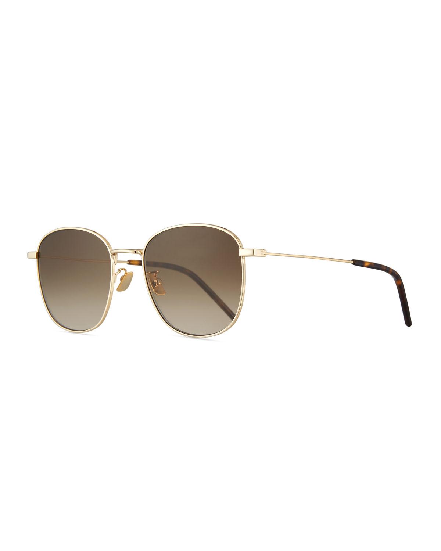 6137abc0ec Saint LaurentMen s Square Metal Aviator Sunglasses with Gradient Lenses