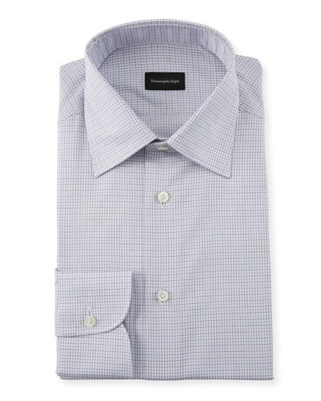 Ermenegildo Zegna Cottons MEN'S MICRO CHECK DRESS SHIRT
