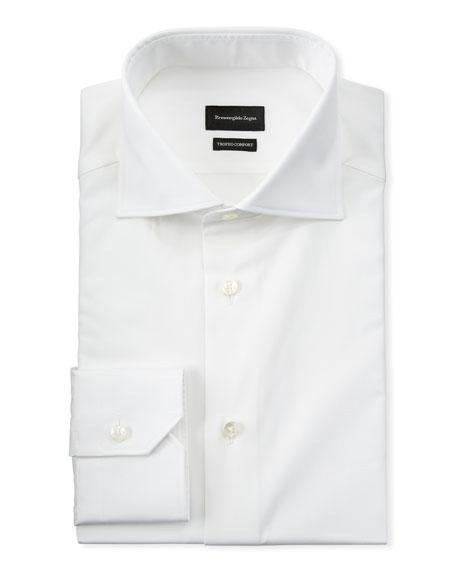 Ermenegildo Zegna Cottons MEN'S LONG-SLEEVE SOLID DRESS SHIRT