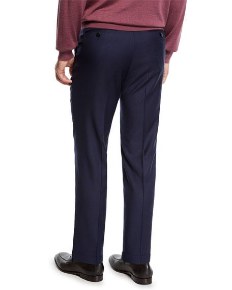 Ermenegildo Zegna Men's Achill Wool-Silk Straight-Leg Pants, Navy