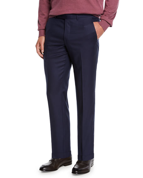 Ermenegildo Zegna Men's Achill Wool-Silk Straight-Leg Pants, Navy