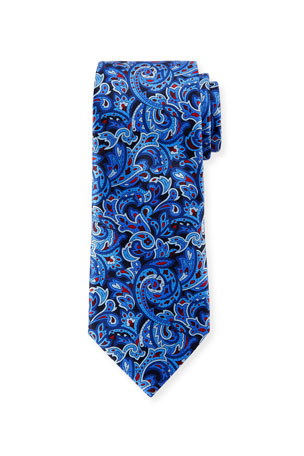 Ermenegildo Zegna Men's Medium-Scale Paisley Tie, Navy