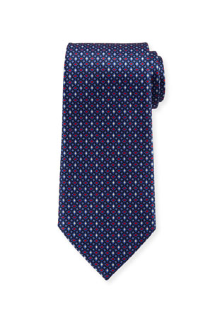 Ermenegildo Zegna Men's Alternating Diamonds Silk Tie, Blue