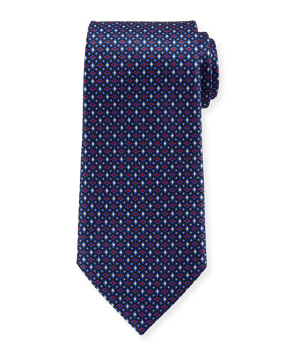 Men's Alternating Diamonds Silk Tie, Blue