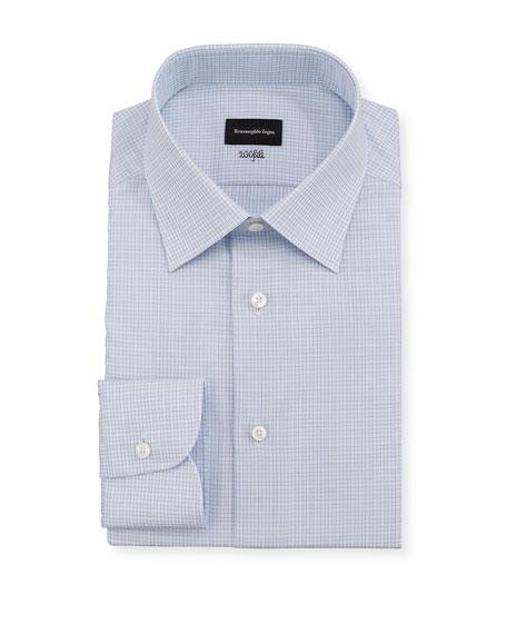 Ermenegildo Zegna Dresses MEN'S 100FILI MICRO-CHECK DRESS SHIRT