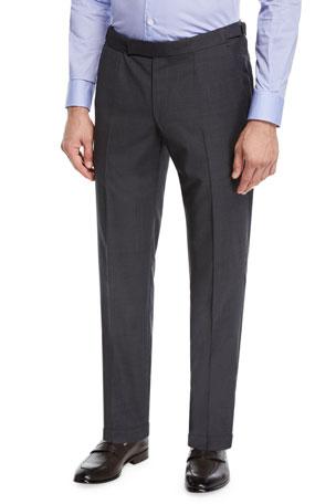 Ermenegildo Zegna Men's Wool Stretch Dress Trousers